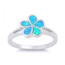 Women 10mm 925 Silver Blue Opal Hawaiian Flower Ladies Vintage Style Ring Band
