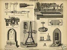 1875= TELEGRAFI ANTICHI = Comunicazioni = STAMPA Antica = Old Engraving