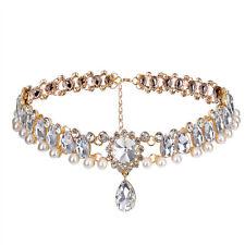 Women Jewelry  Alloy Pearl Beads Crystal Rhinestone Drop Pendant Choker Necklace