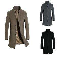 Stylish Men's Wool Blend Trench Coat Slim Fit Long Jackets Overcoat  Outwear