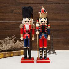 38cm Vintage Wooden Nutcracker King Solider Christmas Home Decor Collectibles