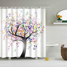 Music Notation Tree Polyester Waterproof Bathroom Fabric Shower Curtain 12 Hook