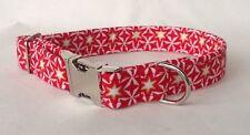 🎄Handmade Christmas Star Fabric Dog Collar with welded nickel D ring
