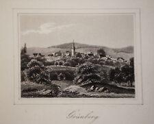 Grünberg  Hessen Vogelsberg alter    Stahlstich 1850