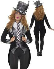 Delux Dark Mad Hatter Costume Ladies Halloween Alice Fancy Dress Halloween
