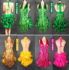 New! Latin salsa tango Cha cha Ballroom Competition Sequined Tassels Dance Dress