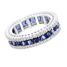 Full Eternity Band Princess Shaped Created Sapphire Wedding Ring 10K Gold $745