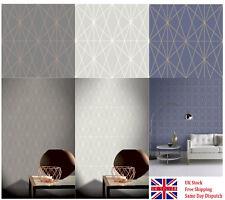 Arthouse Web Geometric Blue, Silver and Charcoal/Copper Metallic Wallpaper