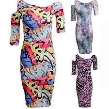 New Ladies Short Sleeve Cutout Snake Spider Graffiti Print Women's Bodycon Dress