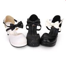 Gothic Lolita Schwarz Weiß Schuhe Shoes Pumps High Heel Cosplay Kostüm Damen Neu
