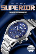 Sub-dials Chrono Watch Chronograph Date Quartz Sport Mens Full Steel Wrist Watch