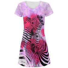Zebra Lovers Valentines Hearts Juniors V-Neck Beach Cover-Up Dress