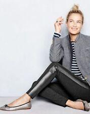 NWT $279 Designer J.CREW Leather Panel Tuxedo Pants -Black  UK 12 / US 8 Reg