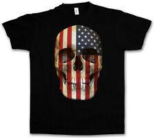 USA STARS & STRIPES SKULL FLAG T-SHIRT - Totenkopf Banner America US T-Shirt 3XL