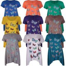 NEUF femmes grandes tailles mouchoir SWING ourlet manche courte papillon tunique