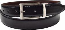 Para Hombre Negro Marrón Azul Marino Reversible Cinturón De Cuero Tallas 32-48 Navidad