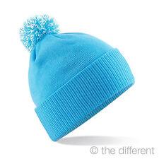 "CAP HAT UNISEX WINTER "" BABY BLUE "" POM POM SNOW SNOWBOARD CAP"