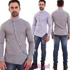 Camicia uomo coreana casual slim fit manica lunga bottoni sbieco nuova 150653