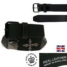 NUOVO Nero Gotico Punk Rock Fashion Jeans Da Uomo Vera Pelle Cintura Made in Inghilterra