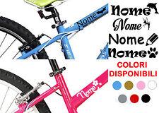 2 Adesivi NOME H2 cm +2 LOGHI tuning bimbi STICKERS bicicletta vinile BICI MOTO