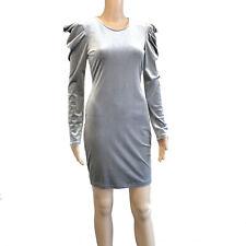 Womans long puff sleeve mini dress silver Sizes 8-18