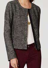 Ann Taylor LOFT Tweed Knit Jacket Blazer Size 0 NWT Black Color
