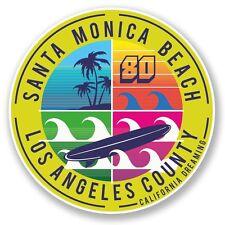 2 x California Santa Monica Beach Vinyl Sticker Laptop Travel Luggage Car #6715