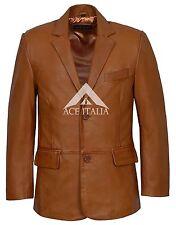 Men's Leather Blazer Tan Classic Cogniac su misura 100% vera napa cappotto 4080