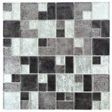 Mosaik Fliese Transluzent schwarz Kombination Glasmosai silber schwarz 88-1703_b