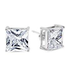 Princess Cut Clear CZ Stud Earrings Sterling Silver 6mm