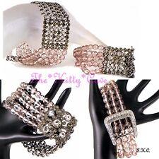 Debenhams Pink Buff Cut Glass Vintage Deco Nouveau Stretch Flex Crystal Bracelet
