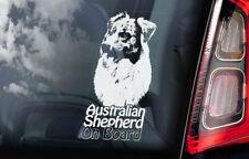 Australian Shepherd on Board - Car Window Sticker - Aussie Dog Sign Decal - V04