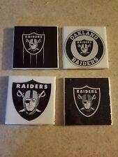 Oakland Raiders 4x4 Ceramic Coasters Handmade
