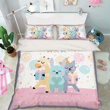 3D Cartoon Animals 9 Bed Pillowcases Quilt Duvet Cover Set Single King UK Summer