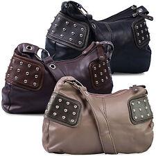 Handtasche in Schwarz, Braun oder Grau mit Nieten von Alessandro Italy - NEU