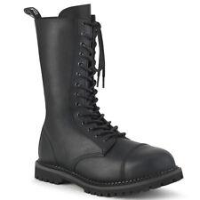 Demonia Riot-14 Black Vegan Leather Unisex Steel Toe Combat Boots - Gothic,Goth