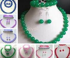 Fashion Handmade Jewel 10mm Jade Emerald Gemstone Necklace Bracelet Earrings set