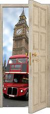 Sticker porte trompe l'oeil déco Londres bus réf 853 (3 Tailles au choix)