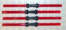 4x Lego Doppel Laserschwert in rot + schwarzer Griff