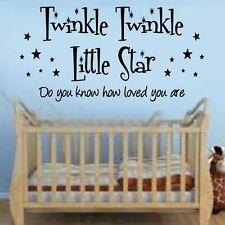 Twinkle Little Star Citazione Rime Asilo Adesivi Murali Artistici Ragazze