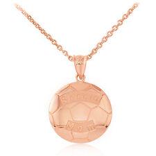 Fine 14k Rose Gold Soccer Mom Soccer Ball Sports Pendant Necklace