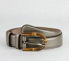 $480 New Gucci Women's Metallic Leather Belt w/Bamboo Buckle 70/28 322954 9524