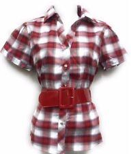 women's Short Sleeve Plaid Check Belt Shirt Premium Stretch Diamond button