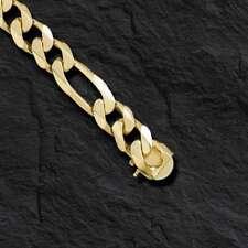 "10kt Solid Yellow Gold Handmade Figaro Curb Link Mens Bracelet 9"" 52 Grams 12MM"