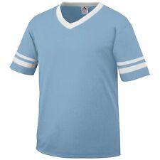 Augusta Men's V Neck Baseball Jersey Striped Sleeve Team Sport T-Shirt. 360