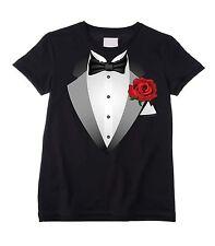 TUXEDO UNISEX KIDS T-SHIRT - Fancy Dress Suit Bow Tie Childrens - Black or White