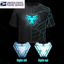 IRON MAN Tony Arc Reactor Stark Light-Up Shining LED Black T-Shirt Cool Tee