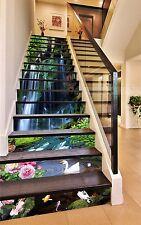 3D Pond Flower 7612 Stair Risers Decoration Photo Mural Vinyl Decal Wallpaper AU