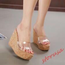 Womens Platform High Wedge Heels Slippers Transparent Open Toe Sandal Mules Shoe