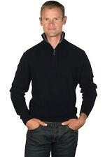 Ugholin Men's Black 100% Cashmere Zip Neck Jumper with a Grey Contrasted Collar